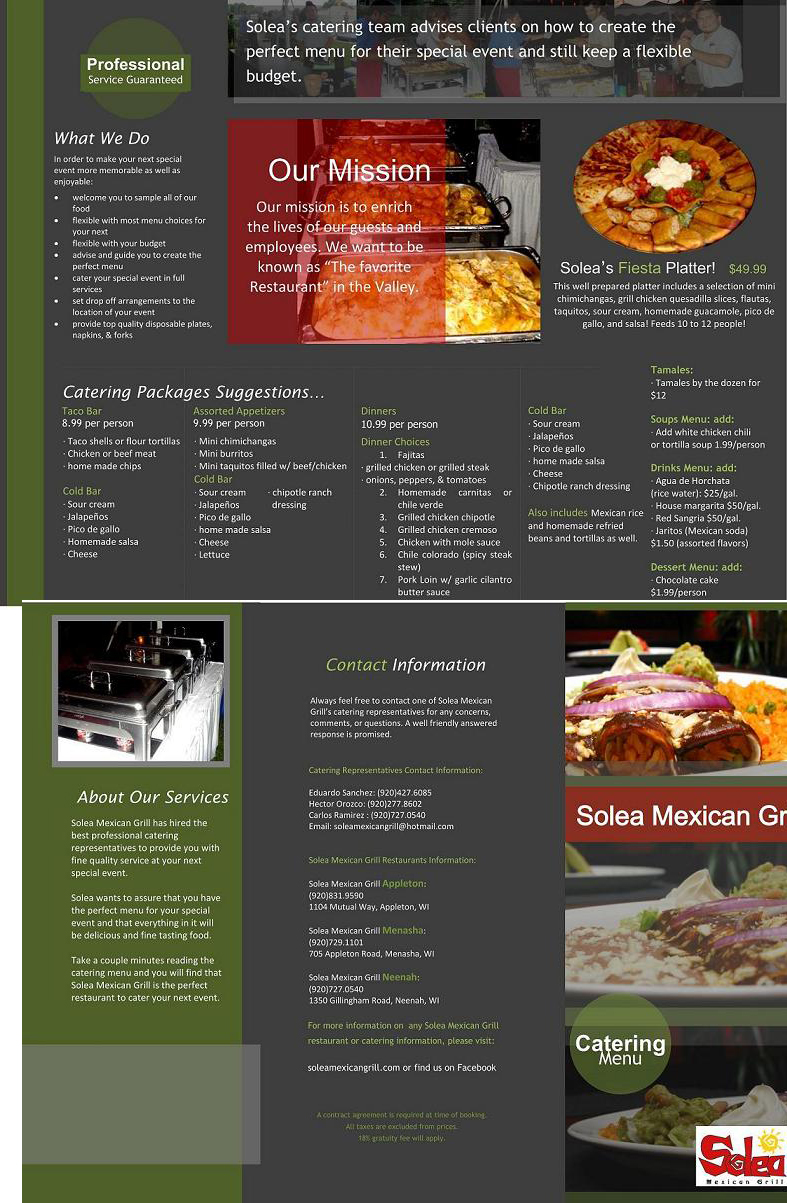 image about Chipotle Printable Menu titled Solea Mexican Grill, Menu. Lunch and Meal Discounts